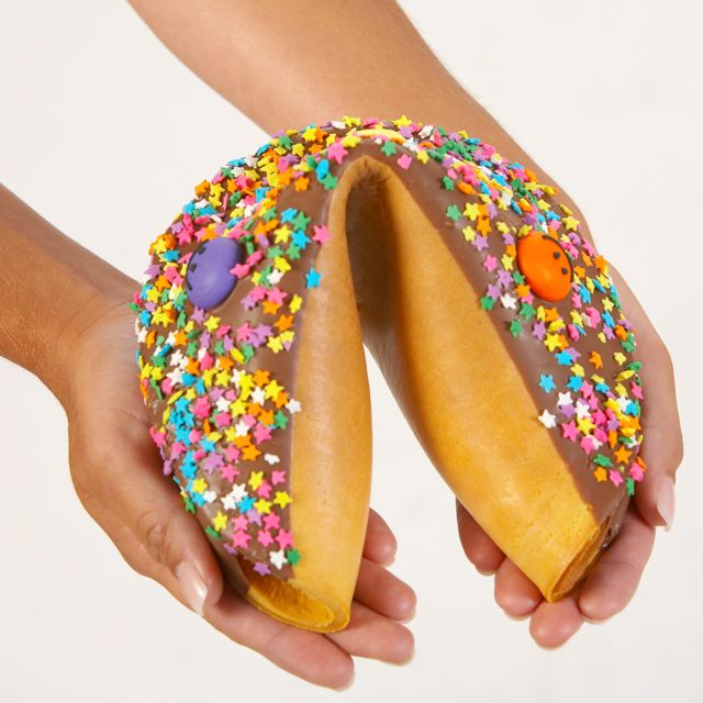 Giant fortune cookies need two hands to hold!