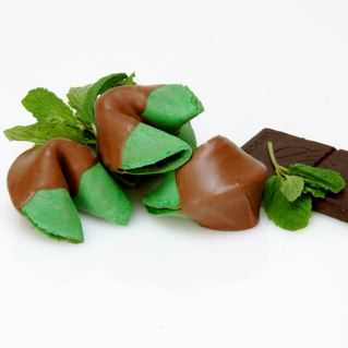 Mint chocolate covered fortune cookies full of good fortune!