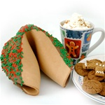 Gingerbread flavored giant fortune cookies are our specialty and make unique edible gifts. Perfect for the holiday and corporate gift season.