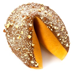 Milk Chocolate covered giant fortune cookie decorated with gourmet chopped hazelnuts