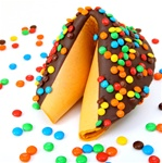 Giant fortune cookies covered in rich dark chocolate and then decorated with real chocolate m&m's