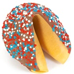Milk Chocolate covered giant fortune cookie decked out like Uncle Sam in red, white and blue stars
