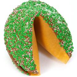 Milk Chocolate covered giant fortune cookie decorated with super lucky St. Patrick's Day shamrocks.